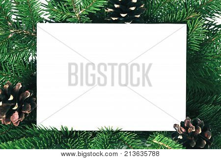 Christmas Invitation Card For Holiday Greeting Decorated By Fir Brunches And Ornaments. Blank Have C