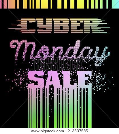 Cyber Monday Sale advertising poster. Black lettering with barcode