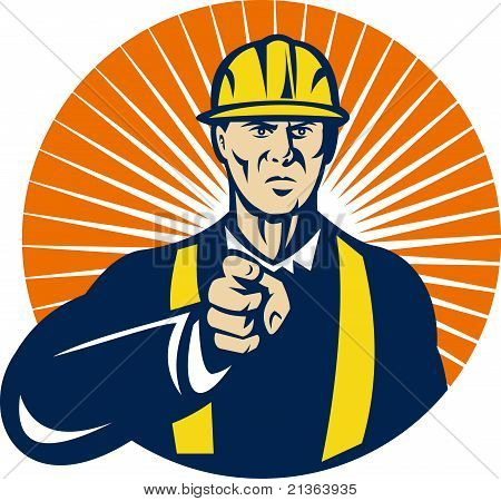construction worker pointing