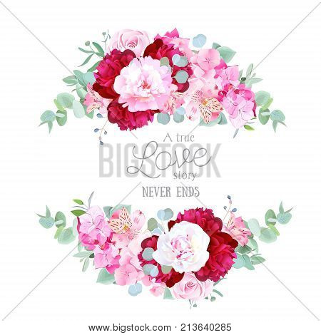 Stylish mix of flowers horizontal vector design frame. White, pink and burgundy red peony, alstroemeria lily, hydrangea, eucalyptus. All elements are isolated and editable