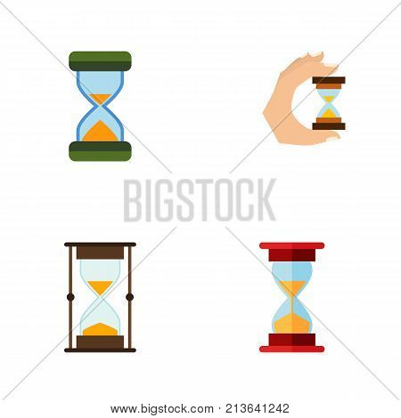 Flat Icon Timer Set Of Sandglass, Loading, Measurement Vector Objects