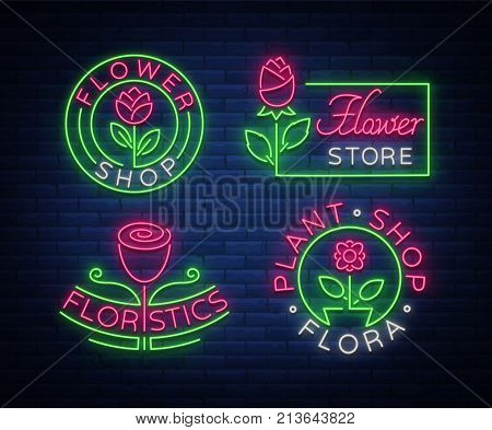 Set of neon logos Flower shop, Plants, Florist, Flora emblem, collection of neon signs. Template design element for business, vivid advertising related to flower delivery, gardening, florist.