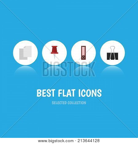 Flat Icon Tool Set Of Dossier, Pushpin, Paper Clip And Other Vector Objects