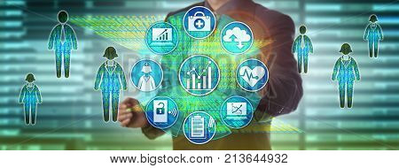 Healthcare information officer measuring performance via dashboard. Health care information technology concept for big data solution driving timely decision making for population health management.