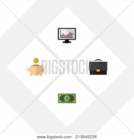 Flat Icon Gain Set Of Chart, Money Box, Greenback And Other Vector Objects