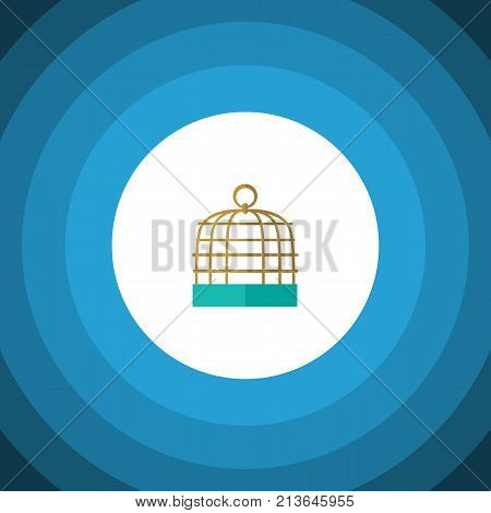 Bird Prison Vector Element Can Be Used For Birdcage, Prison, Cage Design Concept.  Isolated Birdcage Flat Icon.