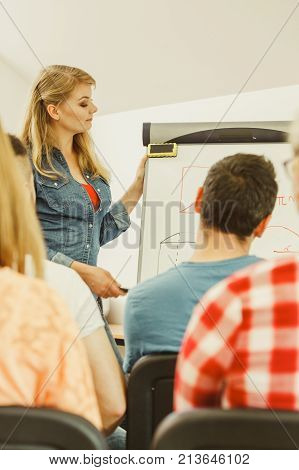 Group of students taking a part in maths lesson while sitting in lecture hall. Young teacher teaching mathematics writing math formulas on the board