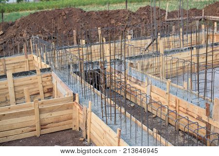 Part of formwork in the foundations of a house