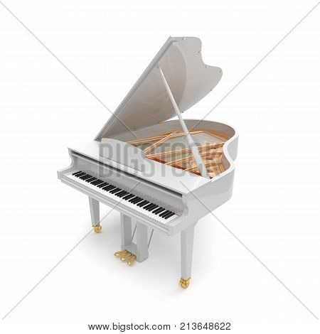 White grand piano isolated on the white background. 3D render illustration.