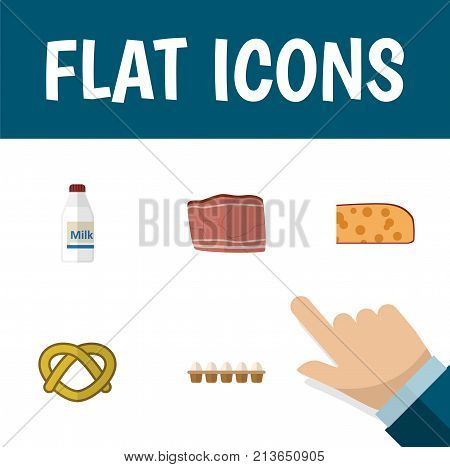 Flat Icon Eating Set Of Cookie, Eggshell Box, Bottle And Other Vector Objects