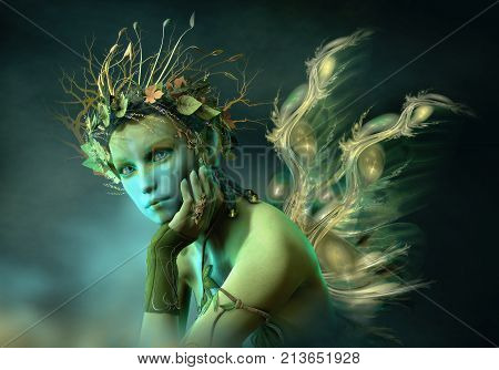 3d computer graphics of a fairy with wings and a wreath of leaves and branches on her head
