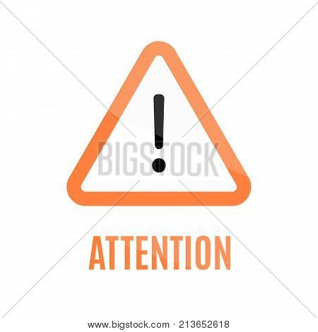 Triangular orange attention sign with rounded corners