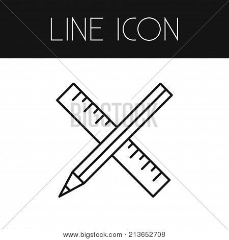 Pencil Vector Element Can Be Used For Drawing, Ruler, Pencil Design Concept.  Isolated Ruler Outline.