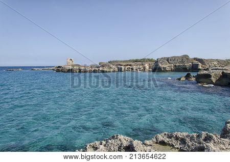 View of the sea of Roca Vecchia
