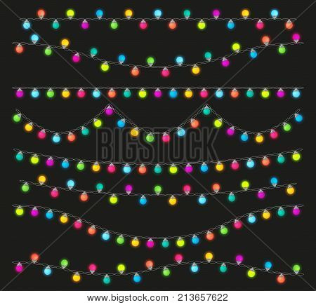 Colorful light lamps garlands set for Christmas and New Year party. Stock vector illustration.