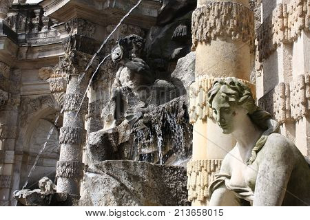 Dresden: aug 21, 2017 - Details of Dresden's Zwinger palace - beautiful baroque architecture. It was built in 1709 during the reign of Augustus the Strong.