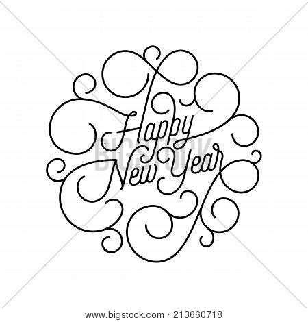 Happy New Year Flourish Calligraphy Lettering Of Swash Line Typography For Greeting Card Design. Vec