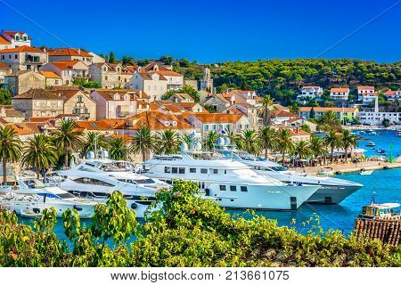 Aerial summer view at famous travel destination in Croatia, Hvar town scenery.
