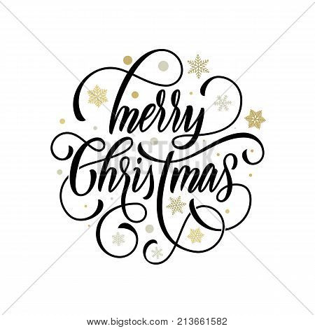 Merry Christmas Flourish Hand Drawn Calligraphy Lettering On Golden Snowflake Ornament Pattern Backg