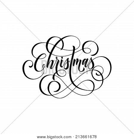 Merry Christmas Flourish Hand Drawn Swash Calligraphy Lettering Of Ornamental Line Typography For Gr