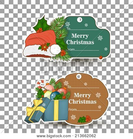 The set of tags for gifts for Christmas. Color-coded labels for your design. Stock vector.