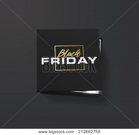 Realistic black shopping box with lettering Black Friday. Banner for black friday. Vector illustration. Isolated on white. Open black empty paper package or box.