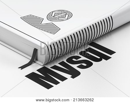 Software concept: closed book with Black Programmer icon and text MySQL on floor, white background, 3D rendering