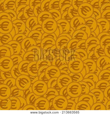 Seamless background with golden coins. Vector illustration.
