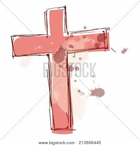 Graphic Design Editable For Your Design, Hand Drawn Cross Isolated On White Background. Vector Illus