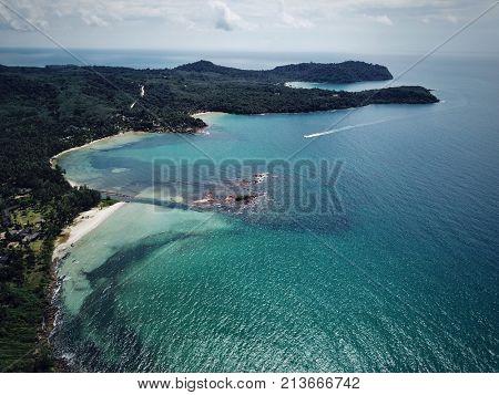Aerial view of tropical island beach