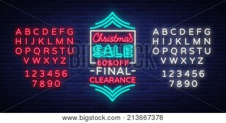 Christmas sale poster advertising banner in neon style isolated vector illustration. Glowing neon sign, night bright advertising sell-off for Christmas. Editing text neon sign. Neon alphabet.