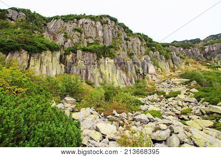 Boulder Fields With Granite Rocks In Mountain Range