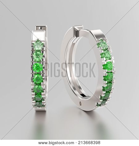 3D illustration white gold or silver decorative earrings hinged lock with green gradient diamonds on a grey background