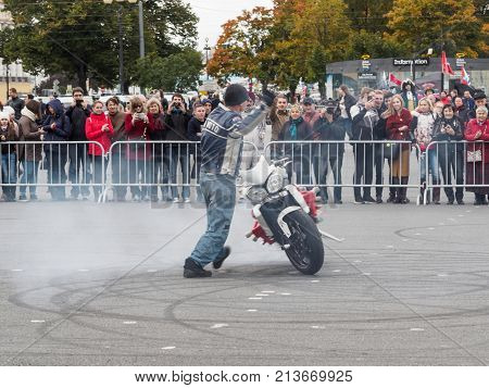 St. Petersburg Russia - September 10 2017: Demonstration performance of bikers on the Palace Square in St. Petersburg