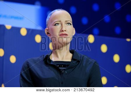 Moscow, Russia - October 16, 2017: Sophia humanoid robot speaking Russian at Open Innovations Conference at Skolokovo technopark