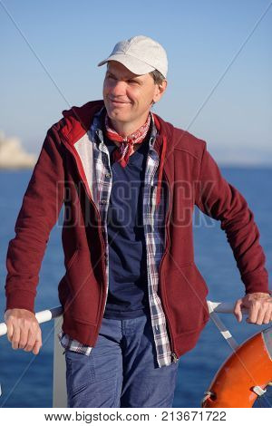 Tourist on a deck of tour boat