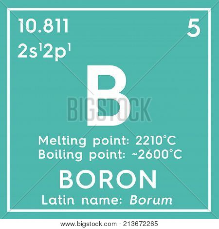 Boron. Metalloids. Chemical Element Of Mendeleev's Periodic Table 3D Illustration.
