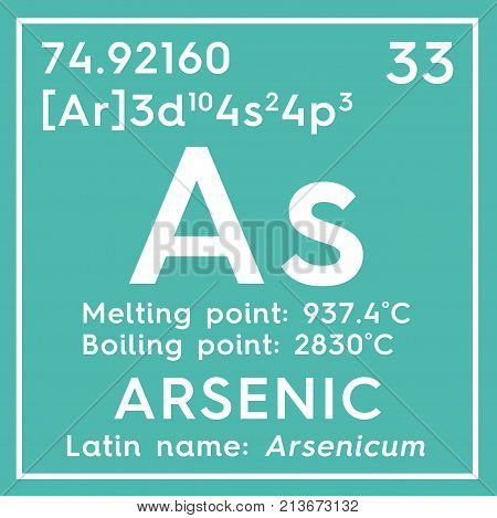 Arsenic. Arsenicum. Metalloids. Chemical Element Of Mendeleev's Periodic Table. 3D Illustration.