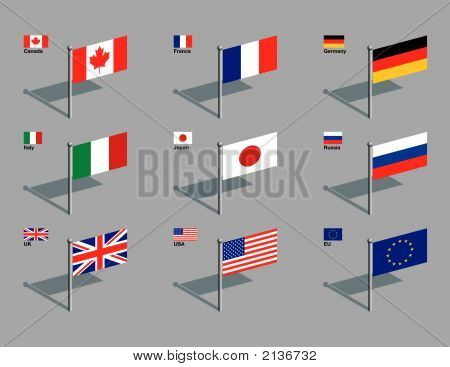 The flags of the members of the G8: Canada France Germany Italy Japan Russia UK USA plus the flag of the EU. Drawn in CMYK and placed on individual layers. poster