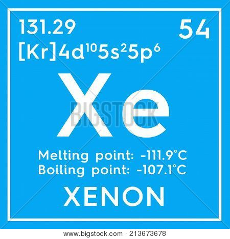 Xenon. Noble Gases. Chemical Element Of Mendeleev's Periodic Table. 3D Illustration.