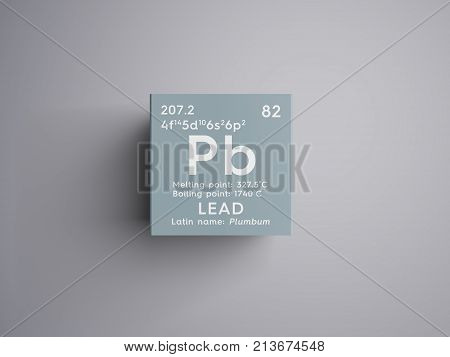Lead. Plumbum. Post-transition Metals. Chemical Element Of Mendeleev's Periodic Table. 3D Illustrati