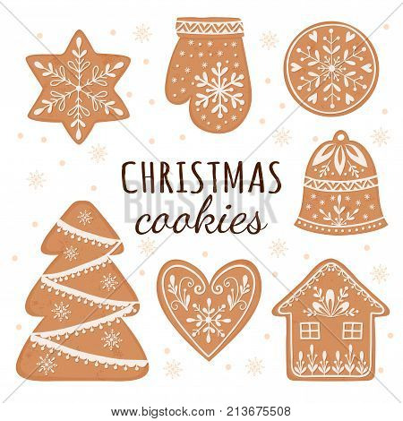 Vector Set Of Gingerbread Cookies: House, Gingerbread Man, Stars, Snowflakes, Christmas Ornaments, S