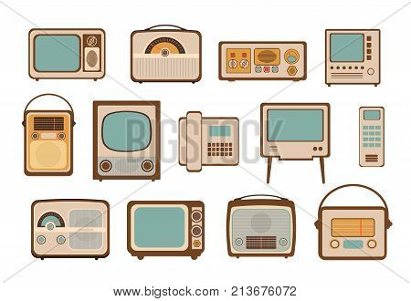 Vintage vector illustrations icon set with retro radio old media TV phone and electrical household goods