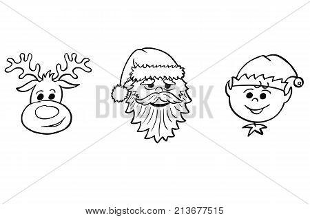 Christmas Set Of Santa Claus, Elf And Rudolf The Reindeer Portraits