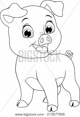 Vector illustration, funny cartoon baby pig, on white background, coloring page