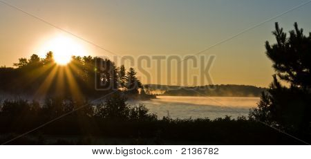 Foggy Sunrise Over An Algonquin Lake, Algonquin Provincial Park, Canada