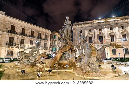 Fountain of Diana in Syracuse - Sicily, Italy