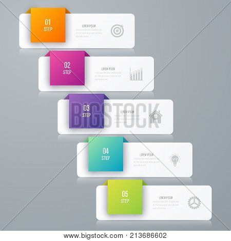 Business infographics template 5 steps square. Data and information visualization. Dynamic infographics stylish geometric. element for design business invitations, gift cards, flyers and brochures
