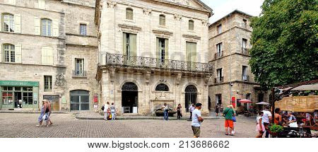 Pezenas, Herault, France - Aug 26 2017: Panorama Of The Main Square  In Pezenas, Languedoc, France,