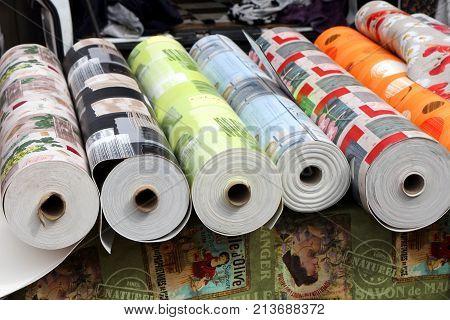 Valras-plage, Herault, France - Aug 25 2017: Rolls Of Vinyl Floor Covering, Or Linoleum, For Sale At